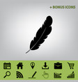 feather sign   black icon at vector image