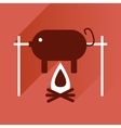 Flat with shadow Icon pig on fire vector image