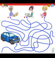 cartoon paths maze game with people and car vector image