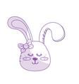 silhouette teddy rabbit girl head animal wild vector image