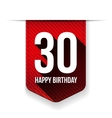Thirty years happy birthday ribbon vector image