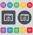 Window icon sign A set of 12 colored buttons Flat vector image