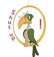 A parrot with a tied up beak Cartoon vector image