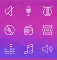 audio outlines set collection of wireless orator vector image