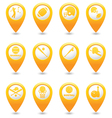 Set of 12 MAP pointer yellow vector image