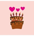 heart cartoon cake candles strawberry and cream vector image
