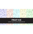 square pattern set fruit ice seamless geometric vector image