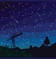 stargazing falling stars natural landscape vector image