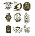 hand drawn tea logotypes set vector image