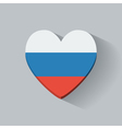 Heart-shaped icon with flag of Russia vector image