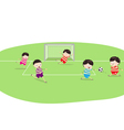 Featuring a Group of Boys Playing Soccer vector image