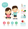 health time food and sport people program design vector image