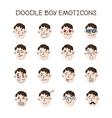 cute doodle boy heads set Boy emoticons vector image