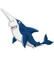 funny shark saws cartoon vector image