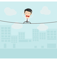 Businessman walking on a rope vector image