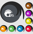 football helmet icon sign Symbols on eight colored vector image