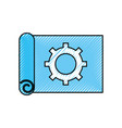 gear wheel on the paper construction work plan vector image