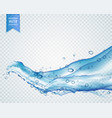 Light blue water or liquid flowing in wavy style vector image