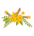 yellow lily flowers crown floral design with vector image