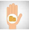 hand concept save money coin dollar vector image