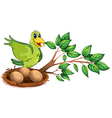 A green bird at the branch of a tree vector image vector image