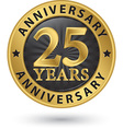 25 years anniversary gold label vector image