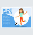 beautiful active girl playing soccer kids land vector image