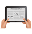 Hands holding digital tablet pc with business news vector image