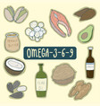set of healthy fats foods healthy plan medical vector image