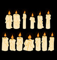 set of doodle shining in darkness candles vector image