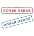 doner kebab textile stamps vector image