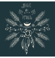Hipster ethnic boho label with feathers and moon vector image vector image
