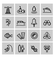 black nautical icons set vector image