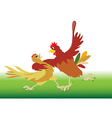 Dance performed by the rooster and hen vector image