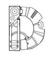 mechanical letter d engraving vector image