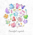 background with doodle sketch crystals collection vector image