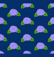 purple hydrangea flower seamless on indigo blue vector image