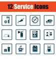 Set of twelve Petrol station icons vector image