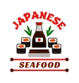 Japanese seafood restaurant icon Sushi and sauce vector image