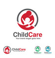 Child care logo mother and kid with hand symbol vector image