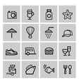 black vacation travel icon set vector image