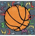 Basketball ball hand drawn poster design vector image