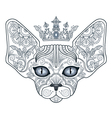 Tattoo head sphinx cat with floral ornament and cr vector image
