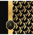 Black and gold background with vertical ribbon and vector image