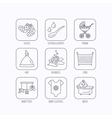 Baby clothes bath and hat icons Pram carriage vector image