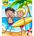 Boys and beach vector image