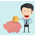 cartoon piggy bank in flat design vector image