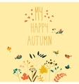 Cute birds with autumn plants and berries vector image