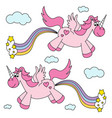 cute funny pink unicorns farting rainbow and vector image