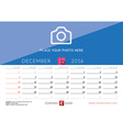 Desk Calendar 2016 Print Template December Week vector image